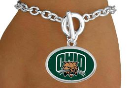 """<Br>          LEAD & NICKEL FREE!!<Br>            OFFICIALLY LICENSED!! <bR>W20689B - LICENSED OHIO UNIVERSITY <Br>      """"BOBCATS"""" BRACELET <BR>           FROM $3.94 TO $8.75"""