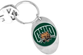 """<Br>                 LEAD & NICKEL FREE!!<Br>           STERLING SILVER PLATED!! <bR>W20690C - LICENSED OHIO UNIVERSITY <Br> """"BOBCATS"""" LOGO KEY CHAIN <Br>                 FROM $3.94 TO $8.75"""