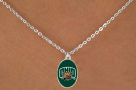 """<Br>                  LEAD & NICKEL FREE!!<Br>                OFFICIALLY LICENSED!!<bR> W20691N - OHIO UNIVERSITY <BR> """"BOBCATS"""" LOGO NECKLACE<Br>           FROM $3.94 TO $8.75"""
