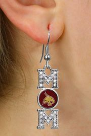 """<br>     WHOLESALE COLLEGE FASHION JEWELRY <bR>         CADMIUM, LEAD & NICKEL FREE!! <BR>      OFFICIAL COLLEGIATE JEWELRY!! <BR>     W20710E - SILVER TONE AND CRYSTAL <BR>TEXAS STATE UNIVERSITY BOBCATS """"MOM"""" <BR>    EARRINGS FROM $3.94 TO $8.75 �2013"""