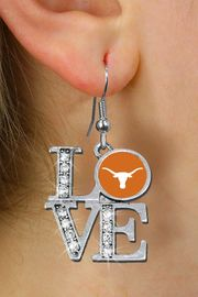 """<Br> OFFICIALLY LICENSED COLLEGIATE ITEM!! <Br>               LEAD & NICKEL FREE!!<Br>     W20717E - UNIVERSITY OF TEXAS """"LONGHORNS"""" <Br> """"LOVE"""" AUSTRIAN CRYSTAL EARRINGS <Br>         FROM $4.84 TO $10.75 �2013"""