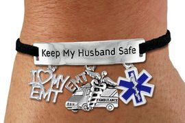 "<Br>     WHOLESALE EMT THEMED JEWELRY <BR>             AN ALLAN ROBIN DESIGN!!<Br>       CADMIUM, LEAD & NICKEL FREE!! <BR>   SPECIAL ""KEEP MY HUSBAND SAFE"" <Br>  W20735B - SILVER TONE AND BLACK SUEDE <BR>CHARM BRACELET WITH EMT THEMED CHARMS <BR>                            $9.68 Each �2013"