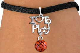 "<br>      WHOLESALE SPORTS FASHION BRACELET <bR>                    EXCLUSIVELY OURS!!<BR>               AN ALLAN ROBIN DESIGN!!<BR>         CADMIUM, LEAD & NICKEL FREE!!<BR>     W20736B - BEAUTIFUL SILVER TONE <Br>""I LOVE TO PLAY"" & MINI BASKETBALL CHARM <BR>    BRACELET FROM $4.64 TO $8.75 �2013"