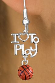"""<br>      WHOLESALE SPORTS FISH HOOK EARRINGS <bR>                    EXCLUSIVELY OURS!!<BR>               AN ALLAN ROBIN DESIGN!!<BR>         CADMIUM, LEAD & NICKEL FREE!!<BR>     W20737E - BEAUTIFUL SILVER TONE <Br>""""I LOVE TO PLAY"""" & MINI BASKETBALL CHARM <BR>    EARRINGS FROM $6.23 TO $11.75 �2013"""