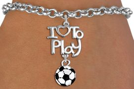 """<br>      WHOLESALE SPORTS FASHION BRACELET <bR>                    EXCLUSIVELY OURS!!<BR>               AN ALLAN ROBIN DESIGN!!<BR>         CADMIUM, LEAD & NICKEL FREE!!<BR>     W20739B - BEAUTIFUL SILVER TONE <Br>""""I LOVE TO PLAY"""" & MINI SOCCER BALL CHARM <BR>    BRACELET FROM $4.64 TO $8.75 �2013"""