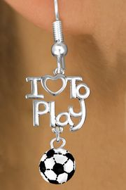 """<br>      WHOLESALE SPORTS FISH HOOK EARRINGS <bR>                    EXCLUSIVELY OURS!!<BR>               AN ALLAN ROBIN DESIGN!!<BR>         CADMIUM, LEAD & NICKEL FREE!!<BR>     W20740E - BEAUTIFUL SILVER TONE <Br>""""I LOVE TO PLAY"""" & MINI SOCCER BALL CHARM <BR>    EARRINGS FROM $6.23 TO $11.75 �2013"""