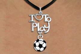 """<br>      WHOLESALE SPORTS FASHION NECKLACE <bR>                    EXCLUSIVELY OURS!!<BR>               AN ALLAN ROBIN DESIGN!!<BR>         CADMIUM, LEAD & NICKEL FREE!!<BR>     W20741N - BEAUTIFUL SILVER TONE <Br>""""I LOVE TO PLAY"""" & MINI SOCCER BALL CHARM <BR>    NECKLACE FROM $4.64 TO $8.75 �2013"""