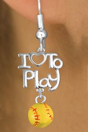"<br>      WHOLESALE SPORTS FISH HOOK EARRINGS <bR>                    EXCLUSIVELY OURS!!<BR>               AN ALLAN ROBIN DESIGN!!<BR>         CADMIUM, LEAD & NICKEL FREE!!<BR>     W20743E - BEAUTIFUL SILVER TONE <Br>""I LOVE TO PLAY"" & MINI SOFTBALL CHARM <BR>    EARRINGS FROM $6.23 TO $11.75 �2013"