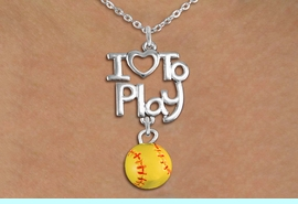"""<br>      WHOLESALE SPORTS FASHION NECKLACE <bR>                    EXCLUSIVELY OURS!!<BR>               AN ALLAN ROBIN DESIGN!!<BR>         CADMIUM, LEAD & NICKEL FREE!!<BR>     W20744N - BEAUTIFUL SILVER TONE <Br>""""I LOVE TO PLAY"""" & MINI SOFTBALL CHARM <BR>    NECKLACE FROM $4.64 TO $8.75 �2013"""