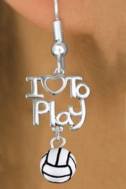 """<br>      WHOLESALE SPORTS FISH HOOK EARRINGS <bR>                    EXCLUSIVELY OURS!!<BR>               AN ALLAN ROBIN DESIGN!!<BR>         CADMIUM, LEAD & NICKEL FREE!!<BR>     W20745E - BEAUTIFUL SILVER TONE <Br>""""I LOVE TO PLAY"""" & MINI VOLLEYBALL CHARM <BR>    EARRINGS FROM $6.23 TO $11.75 �2013"""