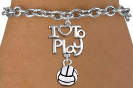 """<br>      WHOLESALE SPORTS FASHION BRACELET <bR>                    EXCLUSIVELY OURS!!<BR>               AN ALLAN ROBIN DESIGN!!<BR>         CADMIUM, LEAD & NICKEL FREE!!<BR>     W20746B - BEAUTIFUL SILVER TONE <Br>""""I LOVE TO PLAY"""" & MINI VOLLEYBALL CHARM <BR>    BRACELET FROM $4.64 TO $8.75 �2013"""