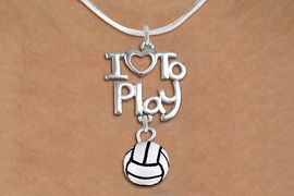 """<br>      WHOLESALE SPORTS FASHION NECKLACE <bR>                    EXCLUSIVELY OURS!!<BR>               AN ALLAN ROBIN DESIGN!!<BR>         CADMIUM, LEAD & NICKEL FREE!!<BR>     W20747N - BEAUTIFUL SILVER TONE <Br>""""I LOVE TO PLAY"""" & MINI VOLLEYBALL CHARM <BR>    NECKLACE FROM $4.64 TO $8.75 �2013"""