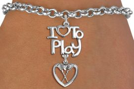 "<br>      WHOLESALE SPORTS FASHION BRACELET <bR>                    EXCLUSIVELY OURS!!<BR>               AN ALLAN ROBIN DESIGN!!<BR>         CADMIUM, LEAD & NICKEL FREE!!<BR>     W20748B - BEAUTIFUL SILVER TONE <Br>""I LOVE TO PLAY"" & LACROSSE HEART CHARM <BR>    BRACELET FROM $4.64 TO $8.75 �2013"