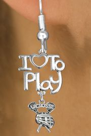 "<br>      WHOLESALE SPORTS FISH HOOK EARRINGS <bR>                    EXCLUSIVELY OURS!!<BR>               AN ALLAN ROBIN DESIGN!!<BR>         CADMIUM, LEAD & NICKEL FREE!!<BR>     W20752E - BEAUTIFUL SILVER TONE <Br>""I LOVE TO PLAY"" & ""LACROSSE"" STICKS & HELMET <BR>CHARM EARRINGS FROM $6.23 TO $11.75 �2013"