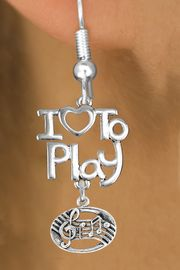 """<br>      WHOLESALE MUSIC FISH HOOK EARRINGS <bR>                    EXCLUSIVELY OURS!!<BR>               AN ALLAN ROBIN DESIGN!!<BR>         CADMIUM, LEAD & NICKEL FREE!!<BR>     W20755E - BEAUTIFUL SILVER TONE <Br>""""I LOVE TO PLAY"""" & MUSIC BAR CHARM <BR>    EARRINGS FROM $6.23 TO $11.75 �2013"""