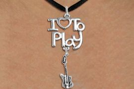 "<br>      WHOLESALE MUSIC FASHION NECKLACE <bR>                    EXCLUSIVELY OURS!!<BR>               AN ALLAN ROBIN DESIGN!!<BR>         CADMIUM, LEAD & NICKEL FREE!!<BR>     W20762N - BEAUTIFUL SILVER TONE <Br>""I LOVE TO PLAY"" & ELECTRIC GUITAR CHARM <BR>    NECKLACE FROM $4.64 TO $8.75 �2013"