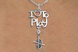 "<br>      WHOLESALE MUSIC FASHION NECKLACE <bR>                    EXCLUSIVELY OURS!!<BR>               AN ALLAN ROBIN DESIGN!!<BR>         CADMIUM, LEAD & NICKEL FREE!!<BR>     W20774N - BEAUTIFUL SILVER TONE <Br>""I LOVE TO PLAY"" & DETAILED VIOLIN CHARM <BR>    NECKLACE FROM $4.64 TO $8.75 �2013"