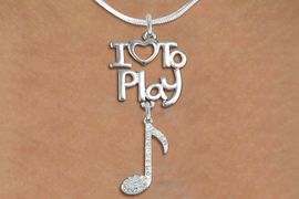 "<br>      WHOLESALE MUSIC FASHION NECKLACE <bR>                    EXCLUSIVELY OURS!!<BR>               AN ALLAN ROBIN DESIGN!!<BR>         CADMIUM, LEAD & NICKEL FREE!!<BR>     W20783N - BEAUTIFUL SILVER TONE <Br>""I LOVE TO PLAY"" & CRYSTAL MUSIC NOTE <BR>CHARM NECKLACE FROM $5.70 TO $10.75 �2013"