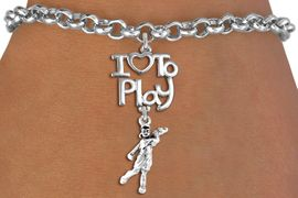 """<br>      WHOLESALE GOLFING SPORTS BRACELET <bR>                    EXCLUSIVELY OURS!!<BR>               AN ALLAN ROBIN DESIGN!!<BR>         CADMIUM, LEAD & NICKEL FREE!!<BR>     W20784B - BEAUTIFUL SILVER TONE <Br>""""I LOVE TO PLAY"""" & DETAILED LADY GOLFER <BR>CHARM BRACELET FROM $4.64 TO $8.75 �2013"""