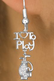 """<br>      WHOLESALE FISH HOOK SPORT EARRINGS <bR>                    EXCLUSIVELY OURS!!<BR>               AN ALLAN ROBIN DESIGN!!<BR>         CADMIUM, LEAD & NICKEL FREE!!<BR>     W20788E - BEAUTIFUL SILVER TONE <Br>""""I LOVE TO PLAY"""" & CRYSTAL GOLF BAG <BR>CHARM EARRINGS FROM $8.61 TO $16.25 �2013"""