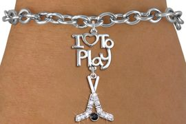 "<br>      WHOLESALE HOCKEY SPORTS BRACELET <bR>                    EXCLUSIVELY OURS!!<BR>               AN ALLAN ROBIN DESIGN!!<BR>         CADMIUM, LEAD & NICKEL FREE!!<BR>     W20793B - BEAUTIFUL SILVER TONE <Br>""I LOVE TO PLAY"" & CRYSTAL HOCKEY STICKS <BR>              CHARM BRACELET   $11.38 �2013"