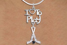"<br>      WHOLESALE SPORTS FASHION NECKLACE <bR>                    EXCLUSIVELY OURS!!<BR>               AN ALLAN ROBIN DESIGN!!<BR>         CADMIUM, LEAD & NICKEL FREE!!<BR>     W20795N - BEAUTIFUL SILVER TONE <Br>""I LOVE TO PLAY"" & CRYSTAL HOCKEY STICKS <BR>             CHARM NECKLACE  $11.38 �2013"