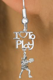 """<br>      WHOLESALE FISH HOOK SPORT EARRINGS <bR>                    EXCLUSIVELY OURS!!<BR>               AN ALLAN ROBIN DESIGN!!<BR>         CADMIUM, LEAD & NICKEL FREE!!<BR> W20797E - BEAUTIFUL SILVER TONE <Br>""""I LOVE TO PLAY"""" & LADY TENNIS PLAYER <BR>CHARM EARRINGS FROM $6.23 TO $11.75 �2013"""