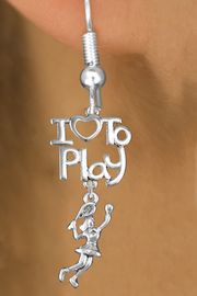 """<br>      WHOLESALE FISH HOOK SPORT EARRINGS <bR>                    EXCLUSIVELY OURS!!<BR>               AN ALLAN ROBIN DESIGN!!<BR>         CADMIUM, LEAD & NICKEL FREE!!<BR> W20800E - BEAUTIFUL SILVER TONE <Br>""""I LOVE TO PLAY"""" & LADY TENNIS PLAYER <BR>CHARM EARRINGS FROM $6.23 TO $11.75 �2013"""
