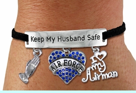 """<Br>WHOLESALE ARMED FORCES THEMED JEWELRY <BR>             AN ALLAN ROBIN DESIGN!!<Br>       CADMIUM, LEAD & NICKEL FREE!! <BR>   SPECIAL """"KEEP MY HUSBAND SAFE"""" <Br>  W20838B - SILVER TONE AND BLACK SUEDE <BR>CHARM BRACELET WITH AIR FORCE THEMED CHARMS <BR>        FROM $8.44 TO $18.75 �2013"""