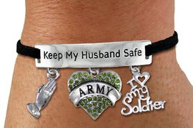 "<Br>WHOLESALE ARMED FORCES THEMED JEWELRY <BR>             AN ALLAN ROBIN DESIGN!!<Br>       CADMIUM, LEAD & NICKEL FREE!! <BR>   SPECIAL ""KEEP MY HUSBAND SAFE"" <Br>  W20839B - SILVER TONE AND BLACK SUEDE <BR>CHARM BRACELET WITH ARMY THEMED CHARMS <BR>        FROM $8.44 TO $18.75 �2013"