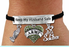 """<Br>WHOLESALE ARMED FORCES THEMED JEWELRY <BR>             AN ALLAN ROBIN DESIGN!!<Br>       CADMIUM, LEAD & NICKEL FREE!! <BR>   SPECIAL """"KEEP MY HUSBAND SAFE"""" <Br>  W20839B - SILVER TONE AND BLACK SUEDE <BR>CHARM BRACELET WITH ARMY THEMED CHARMS <BR>        FROM $8.44 TO $18.75 �2013"""