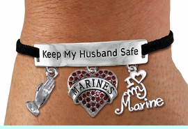 """<Br>WHOLESALE ARMED FORCES THEMED JEWELRY <BR>             AN ALLAN ROBIN DESIGN!!<Br>       CADMIUM, LEAD & NICKEL FREE!! <BR>   SPECIAL """"KEEP MY HUSBAND SAFE"""" <Br>  W20840B - SILVER TONE AND BLACK SUEDE <BR>CHARM BRACELET WITH MARINES THEMED CHARMS <BR>        FROM $8.44 TO $18.75 �2013"""