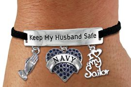 "<Br>WHOLESALE ARMED FORCES THEMED JEWELRY <BR>             AN ALLAN ROBIN DESIGN!!<Br>       CADMIUM, LEAD & NICKEL FREE!! <BR>   SPECIAL ""KEEP MY HUSBAND SAFE"" <Br>  W20841B - SILVER TONE AND BLACK SUEDE <BR>CHARM BRACELET WITH NAVY THEMED CHARMS <BR>        FROM $8.44 TO $18.75 �2013"