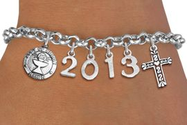 <br> WHOLESALE CHRISTIAN CHARM BRACELETS! <Br>                     EXCLUSIVELY OURS!!<Br>                AN ALLAN ROBIN DESIGN!!<Br>                  LEAD & NICKEL FREE!! <BR>           THIS IS A PERSONALIZED ITEM <Br>   W20842B - SILVER TONE LOBSTER CLASP <BR> COMMUNION THEMED CUSTOM YEAR BRACELET <BR>           FROM $9.00 TO $20.00 �2013