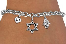 "<BR> WHOLESALE JEWISH CHARM BRACELETS <bR>               EXCLUSIVELY OURS!!<BR>         AN ALLAN ROBIN DESIGN!!<BR>            LEAD & NICKEL FREE!! <BR>W20843B - JEWISH BAS MITZVAH <BR> ""SIS"" HEART, STAR OF DAVID AND HAMSA CHARM <BR>BRACELET FROM $5.63 TO $12.50 �2013"