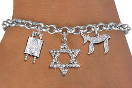 <BR> WHOLESALE JEWISH CHARM BRACELETS <bR>               EXCLUSIVELY OURS!!<BR>         AN ALLAN ROBIN DESIGN!!<BR>            LEAD & NICKEL FREE!! <BR>W20849B - JEWISH BAS MITZVAH TORAH SCROLLS<BR> CRYSTAL STAR OF DAVID AND CHAI CHARM <BR>BRACELET FROM $5.63 TO $12.50 �2013