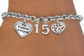 "<BR> WHOLESALE 15TH BIRTHDAY BRACELET <bR>                EXCLUSIVELY OURS!!<Br>               LEAD & NICKEL FREE!!<BR>W20850B - QUINCEA&#209;ERA 15 THEMED <Br>SILVER TONE CHARM BRACELET WITH <BR>""FAMILIA"" HEART AND <BR>ANTIQUED SCRIPT HEART CHARMS <BR>       FROM $5.63 TO $12.50 �2013"
