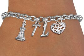 <BR> WHOLESALE 15TH BIRTHDAY BRACELET <bR>                EXCLUSIVELY OURS!!<Br>               LEAD & NICKEL FREE!!<BR>W20851B - QUINCEA&#209;ERA 15 THEMED <Br>SILVER TONE CHARM BRACELET WITH <BR>CUSTOM INITIALS, QUINCEANERA GIRL <BR>AND ANTIQUED SCRIPT HEART CHARMS <BR>       FROM $5.63 TO $12.50 �2013