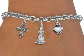 <BR> WHOLESALE 15TH BIRTHDAY BRACELET <bR>                EXCLUSIVELY OURS!!<Br>               LEAD & NICKEL FREE!!<BR>W20852B - QUINCEA&#209;ERA 15 THEMED <Br>SILVER TONE CHARM BRACELET WITH <BR>BEAUTIFUL SCRIPT CROSS, QUINCEANERA GIRL <BR>AND SMALL 3D PUFFED HEART CHARMS <BR>       FROM $5.63 TO $12.50 �2013