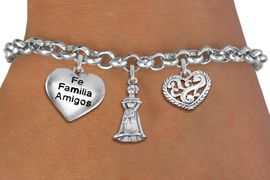 "<BR> WHOLESALE 15TH BIRTHDAY BRACELET <bR>                EXCLUSIVELY OURS!!<Br>               LEAD & NICKEL FREE!!<BR>W20853B - QUINCEA&#209;ERA 15 THEMED <Br>SILVER TONE CHARM BRACELET WITH <BR>""FAMILIA"" HEART, QUINCEANERA GIRL <BR>AND SCRIPT HEART CHARMS <BR>       FROM $5.63 TO $12.50 �2013"