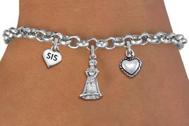 "<BR> WHOLESALE 15TH BIRTHDAY BRACELET <bR>                EXCLUSIVELY OURS!!<Br>               LEAD & NICKEL FREE!!<BR>W20854B - QUINCEA&#209;ERA 15 THEMED <Br>SILVER TONE CHARM BRACELET WITH <BR>""SIS"" HEART, QUINCEANERA GIRL <BR>AND SMALL 3D PUFFED HEART CHARMS <BR>       FROM $5.63 TO $12.50 �2013"