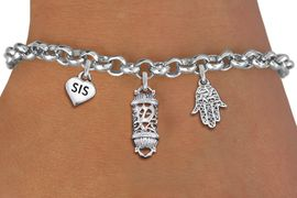 "<BR> WHOLESALE JEWISH CHARM BRACELETS <bR>               EXCLUSIVELY OURS!!<BR>         AN ALLAN ROBIN DESIGN!!<BR>            LEAD & NICKEL FREE!! <BR>W20856B - JEWISH BAS MITZVAH <BR> ""SIS"" HEART, TORAH SCROLL AND HAMSA CHARM <BR>BRACELET FROM $5.63 TO $12.50 �2013"