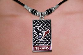 <br> WHOLESALE NFL LICENSED NECKLACES <Br>                LEAD & NICKEL FREE!!<Br> LICENSED NATIONAL FOOTBALL LEAGUE!!<Br>W20887N - OFFICIAL HOUSTON TEXANS DIAMOND <Br>SHIELD PENDANT ON BLACK CORD NECKLACE<br>            FROM $4.73 TO $10.50 �2013