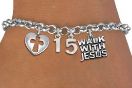 "<BR> WHOLESALE 15TH BIRTHDAY BRACELET <bR>                EXCLUSIVELY OURS!!<Br>               LEAD & NICKEL FREE!!<BR>W20895B - QUINCEA&#209;ERA 15 THEMED <Br>SILVER TONE CHARM BRACELET WITH <BR>""WALK WITH JESUS"" CHARM AND <BR>DETAILED CROSS HEART CHARMS <BR>       FROM $5.63 TO $12.50 �2013"