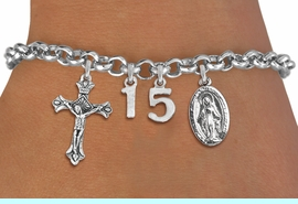 <BR> WHOLESALE 15TH BIRTHDAY BRACELET <bR>                EXCLUSIVELY OURS!!<Br>               LEAD & NICKEL FREE!!<BR>W20897B - QUINCEA&#209;ERA 15 THEMED <Br>SILVER TONE CHARM BRACELET WITH <BR>DETAILED CRUCIFIX CHARM AND <BR>DETAILED VIRGIN MARY CHARMS <BR>       FROM $5.63 TO $12.50 �2013