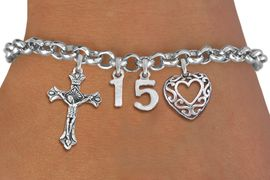 <BR> WHOLESALE 15TH BIRTHDAY BRACELET <bR>                EXCLUSIVELY OURS!!<Br>               LEAD & NICKEL FREE!!<BR>W20898B - QUINCEA&#209;ERA 15 THEMED <Br>SILVER TONE CHARM BRACELET WITH <BR>DETAILED CRUCIFIX CHARM AND <BR>BEAUTIFUL SCRIPT HEART CHARM <BR>       FROM $5.63 TO $12.50 �2013