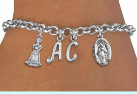 <BR> WHOLESALE 15TH BIRTHDAY BRACELET  <br> CUSTOMIZED BRACELET WITH INITIALS <bR>                EXCLUSIVELY OURS!!<Br>               LEAD & NICKEL FREE!!<BR>W20899B - QUINCEA&#209;ERA 15 THEMED <Br>SILVER TONE CHARM BRACELET WITH <BR>QUINCEA&#209;ERA GIRL AND <BR>DETAILED VIRGIN MARY CHARMS <BR>       FROM $5.63 TO $12.50 �2013
