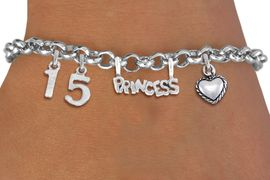 "<BR> WHOLESALE 15TH BIRTHDAY BRACELET <bR>                EXCLUSIVELY OURS!!<Br>               LEAD & NICKEL FREE!!<BR>W20900B - QUINCEA&#209;ERA 15 THEMED <Br>SILVER TONE CHARM BRACELET WITH <BR>""PRINCESS"" CHARM AND <BR>BEAUTIFUL HEART CHARM <BR>       FROM $5.63 TO $12.50 �2013"