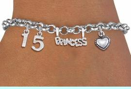 """<BR> WHOLESALE 15TH BIRTHDAY BRACELET <bR>                EXCLUSIVELY OURS!!<Br>               LEAD & NICKEL FREE!!<BR>W20900B - QUINCEA&#209;ERA 15 THEMED <Br>SILVER TONE CHARM BRACELET WITH <BR>""""PRINCESS"""" CHARM AND <BR>BEAUTIFUL HEART CHARM <BR>       FROM $5.63 TO $12.50 �2013"""