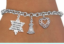 """<BR> WHOLESALE 15TH BIRTHDAY BRACELET <bR>                EXCLUSIVELY OURS!!<Br>               LEAD & NICKEL FREE!!<BR>W20901B - QUINCEA&#209;ERA 15 THEMED <Br>SILVER TONE CHARM BRACELET WITH <BR>QUINCEA&#209;ERA GIRL CHARM AND <BR>""""MADE YOU UNIQUE"""" SNOWFLAKE CHARM <BR>       FROM $5.63 TO $12.50 �2013"""
